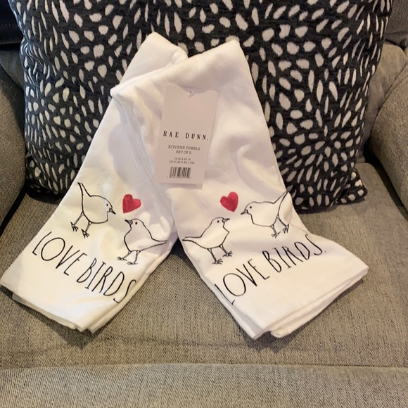 Rae Dunn Love Birds Kitchen Towels set of 2